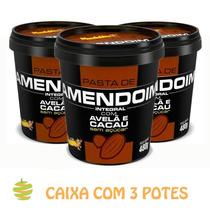 3 Potes De Pasta De Amendoim Cacau Com Avelã (480g) Mandubim