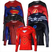 Camisa Herois Marvel Superman/homem Aranha/capitão America