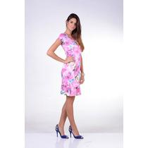 Vestido Cotton Cetim Estampado Moda Evangélica Kauly1457