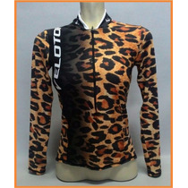 Camisa Feminina Onça Velotop Ciclismo New Soft