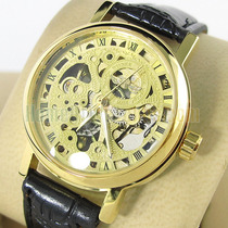 Relógio Automático Skeleton Folheado Ouro Black Friday