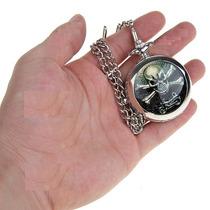 Relógio De Bolso Prata Com Estampa De Caveira