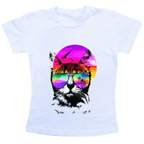Camiseta Baby Look Feminina - Gatinho Verão / Summer Cat