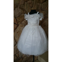 Vestido Infantil Festa Casamento Florista Decote Off White