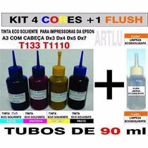 Tinta Eco Solvente Epson - T1110 4 Cores + Flush De Limpeza