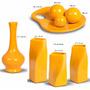 Trio De Vasos Cerâmica Mais Enfeite Centro De Mesa Amarelo