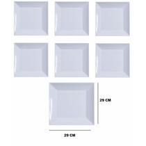 Prato Quadrado Branco Melamina - 29 X 29cm - Kit 6 Unidades