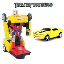 Carrinho Camaro Amarelo Vira Robô C/ Luz E Som Transformers
