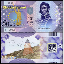 Usa Estados Unidos Rhode Island 50 Dollars Polímero * Q J *