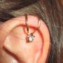 Ear Cuff Estrela Strass Dourado - Clip Piercing