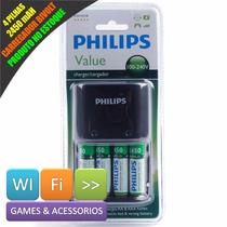 Carregador Bivolt + 4 Pilhas Recarregaveis 2450 Mah Philips