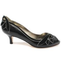 Sapato Peep Toe Laura Porto Mr1232 Salto Baixo | Zariff