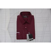 Camisa Social Masculina Hugo Boss Cor Vermelho Escuro