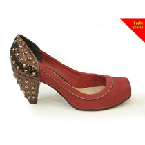 Sapato De Couro Camurça N4281 Tanara (35) - Vermelho