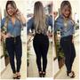 Calça Jeans Feminina Hot Pants Cintura Alta Cresce Bumbum