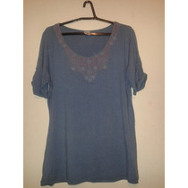 Blusa Feminina Azul Malha Decote Rendado Cód. V16