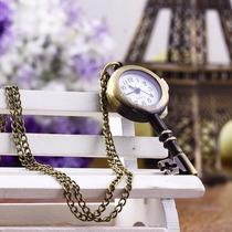 Relógio De Bolso Bronze Antigo - Colar - Modelo Chave