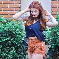 Short Feminino Cintura Alta Colorido