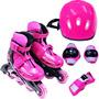 Kit Roller - Patins Inline Com Proteções - Rosa G: 36-39