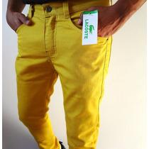 Calça Masculina Jeans Lacoste Mustard Skinny Com Lycra
