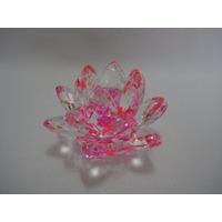 Flor De Lótus De Cristal Transparente Rosa Pink 9cm