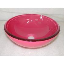 Cuba De Vidro Rosa Para Banheiro - Redonda Small - 30cm