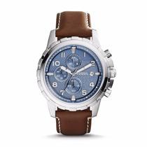 Relógio Fossil Dean Azul Couro Aço Fs5022/0an Original