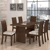Conjunto De Mesa Sâmara New Com 6 Cadeiras Florença Imbuia T