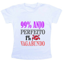 Camiseta Baby Look Feminina 99% Anjo Safadão 1% Vagabundo