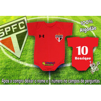 Bori Body Bebê São Paulo Vermelho Time Futebol Infantil