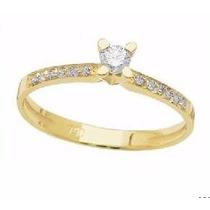 Solitário De Ouro 18k 1 Diamante 5 Pontos 10 Diamantes 0,5pt