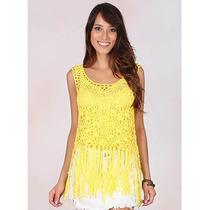 Regata Crochê Com Franja Feminina Lina - Amarelo