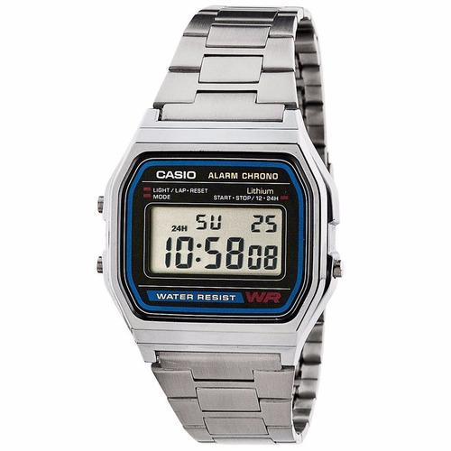 a3a9cc13092 Relógio Casio Unisex A158 Retrô Vintage Prata A168 Original. R  129.9