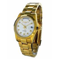 Relógio Feminino Dourado Mzi Alemão Folheado Ouro 23k