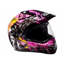 Capacete Com Viseira Helt Cross Vision Pink/rosa Motocross