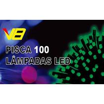 Pisca 100 Lâmpadas Led 8 Funções Verde C/ Fio Verde 220v