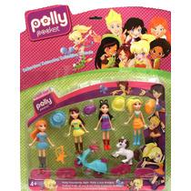 Bonecos Coleção Polly 4 Personagens +moto+poney+5 Acessórios