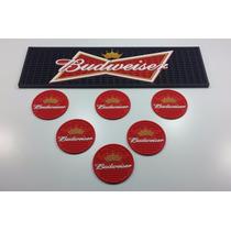Kit Budweiser, Bar Mat + 6 Porta Copos - Bolacha Acessórios