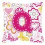 Letra Q Flores E Borboletas Lona Rosa Tecido Decorativa Pill