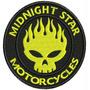 Patch Bordado Dv038 Midnight Star Fire Skull Motorcycles