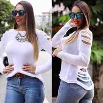 Blusa Tricot Rasgada/gilhetada Em Tiras Destruyed Sueter