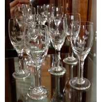 Conjunto Jogo 5 Taças De Licor De Cristal Lapidado Usada