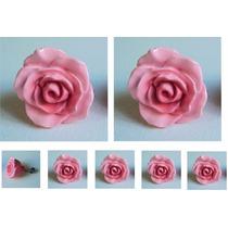 Puxador Botão De Rosa Médio Colorido- Resina Resinas