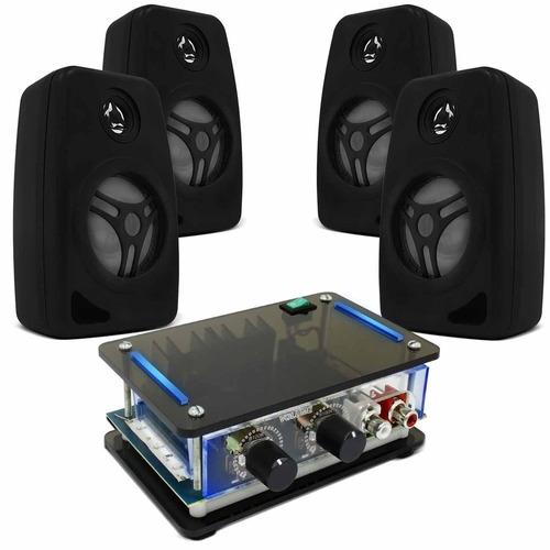 Kit Som Ambiente Receiver Slim 4 Caixas De Som Pretas