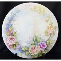 Prato Medalhão Pintado À Mão Datado E Assinado Flores 32cm