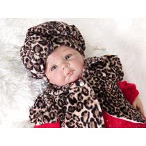 Saída Maternidade Oncinha Brilhante Vermelha Roupa De Bebê