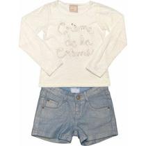 Conjunto Marisol Blusa Em Meia Malha Devorê + Shorts Jeans.
