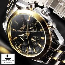 Relógio Jaragar Preto Automático Gold Business Watch