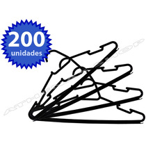 Kit 200 Cabides Plastico Preto - Reforçado Para Arara Roupas