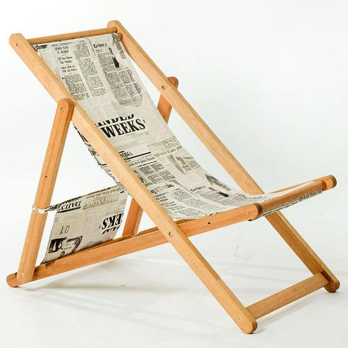 Cadeira Opi Sem Braços Mão E Formão - Tecido Jornal P / b